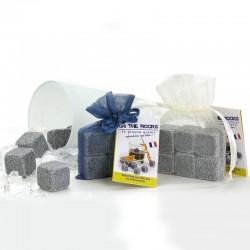 LOT de 6x2 glaçons granit bleu de Bretagne sachet organza