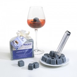 20 Glaçons Bleus de Bretagne en sachet organza + Pince en inox