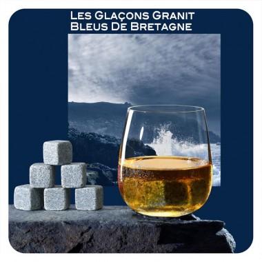 6 glaçons granit bleu de Bretagne