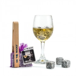 6  Sidobre Grey Granite ice cubes + wooden icetongs in organza bag