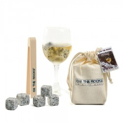12 Sidobre clear-coloured granite icecubes in cotton bag + tong