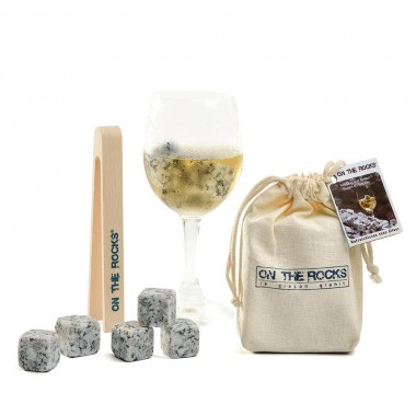 12 Glaçons granit Sidobre en sachet coton + pince