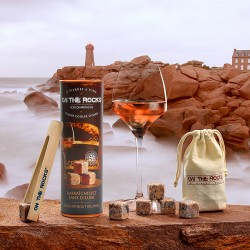 """Gift box   6 """"Pierres à Vin"""" granite ice cubes + beech wooden tong"""