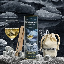 Gift box | 6 Grey granite ice cubes + beech wooden tong