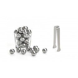 "50 stainless steel ice""balls"" + icetongs"