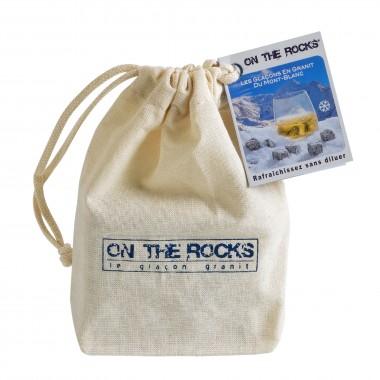 9 Glaçons en granit du Mont-Blanc en sachet coton