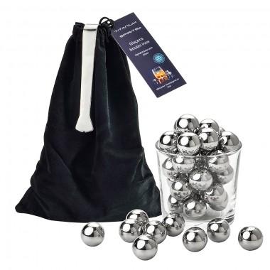 30 Glaçons Boules en inox + Pince offerte dans leur sachet en velours noir