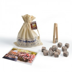 30 Wine stones in cotton bag + beech wooden tongs