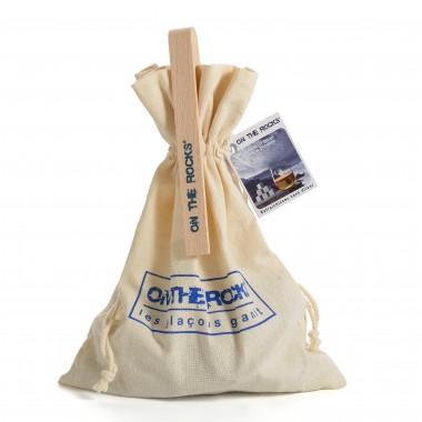 30 Glaçons en granit Bleus de Bretagne | Sachet coton + Pince