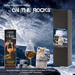 Ensemble Dégustation Whisky Verre olfactif + 8 Glaçons granit Bleus de Bretagne en sachet coton