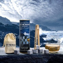 Gift box   6 Blue granite ice cubes + beech wooden tong