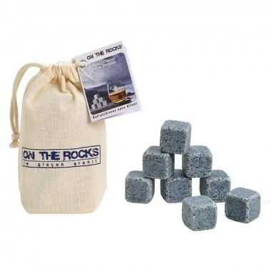 8 Glaçons granit Bleu de Bretagne | Sachet coton