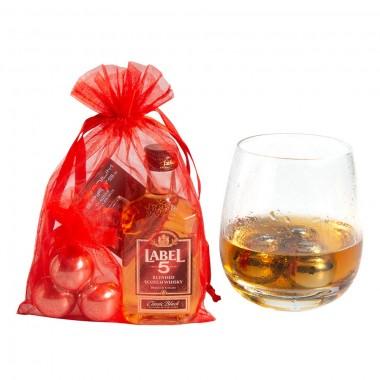 3 glaçons boules inox + Mignonnette Whisky Label 5