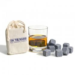 12 Glaçons en granit Bleu de Bretagne | Sachet coton